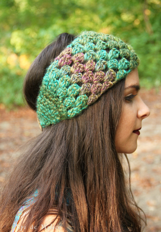 bandeau crochet crochet hippie festival vert violet. Black Bedroom Furniture Sets. Home Design Ideas