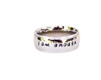 I am Enough-Ring Inspirational Jewelry Ring  Stainless Steel Jewelry Quote Ring Affirmation Iam enough