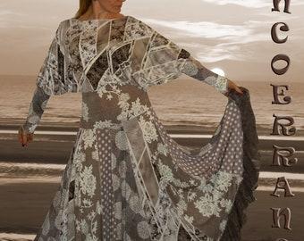 Robe bohème , jupon , boho , patchwork .... ' Sable  ...'