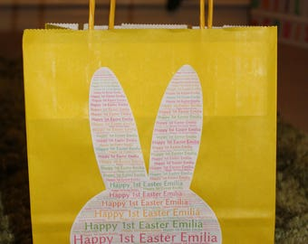Easter gift bags etsy homemade personalised pretty easter gift bags babys first easter 095p postage for any negle Choice Image
