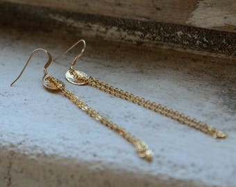 Long Gold Earrings Dainty gold earrings elegant long earrings elegant gold earrings gold filled minimal earrings gold chain earrings