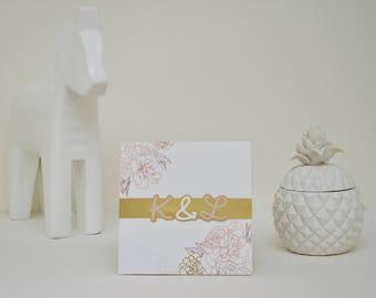 """Camellia"" invitation with gold and original headband"
