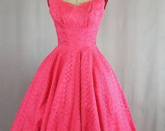 1950s Red Eyelet Party Dress   Carmen's Dress