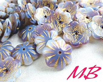 10 pcs Blue Purple Czech Glass Beads Mix, 14mm Bell and Flower Beads, Gold Patina Cup Flower Beads