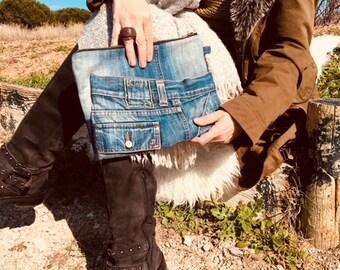 Denim clutch - pouch denim - recycled denim - pouch