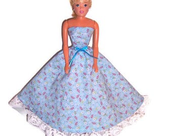 Fashion Doll Clothes-Light Blue Floral Strapless Dress