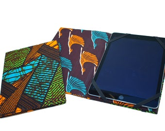 Etuis Ipad pro 10 5'' ou Ipad 9 7'' en wax Africain, support tablette numérique, coque iPad, housse rigide iPad pro, wax ethnique et oiseaux