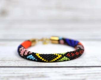 Abstract pattern fashion gift|for|girlfriend friendship gift beaded bracelet bead crochet rope multicolor bracelet patchwork jewelry boho