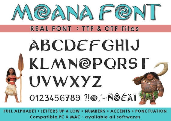 Moana Font Ttf Otf Available On All Softwares Compatible