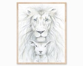 Lion and Lamb Painting, Lion and Lamb Art, Lion and Lamb Print, Peace Art, Lion Print, Lamb Print, Christian Print, Jesus Print, Mother Art