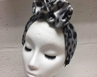 Gigi Silk Ruffle Turban Headband in Silver Leopard