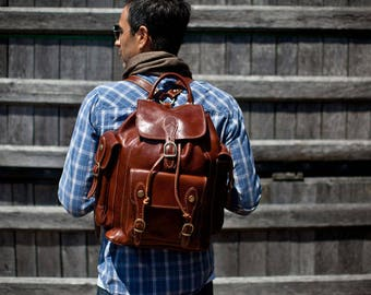 Leather Backpack, Leather Bag, Leather Knapsack, Floto Venezia Knapsack Leather Backpack in Brown Full Grain Calfskin Leather (4051BROWN)