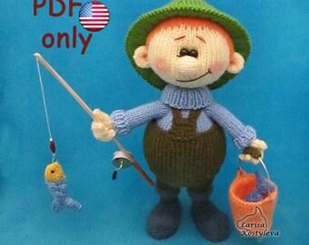 Knitting pattern - Fisherman amigurumi doll