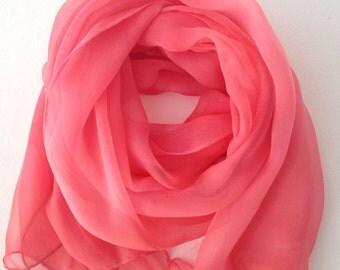 Foulard chiffon Chiffon Foulard Silk natural Hand-painted Foular silk fabric for bride foulard scarf pink quartz silk scarf for wedding
