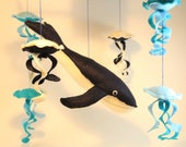 Baby mobile-Whale Baby mobile -Nautical baby Mobile - Mobile - Nursery decor - Baby crib mobile- Baby shower