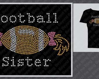 football sister bling shirt football sister ponytail rhinestone bling shirt little sister football shirt bling football sister shirt toddler