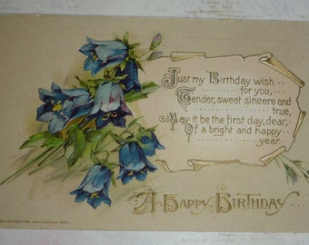 Pretty Bluebells With Birthday Wish Winsch Antique Postcard