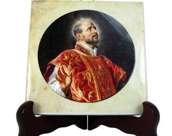 Saint Ignatius of Loyola - St Ignatius icon on ceramic tile - catholic saints serie - catholic saint - Jesuits, Society of Jesus - saint art