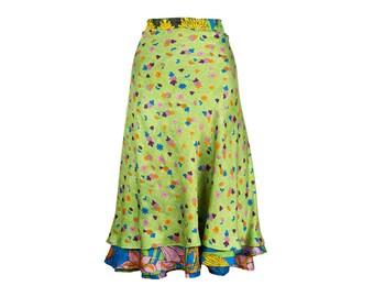 Silk Wrap Skirt, Wrap Skirt, Unique Clothing, Long Skirt, Japanese Flowers Skirt, Reversible Skirt, Plus Skirt, Unique Skirt, Silk Skirt