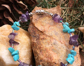 Amethyst & Turquoise Anklet