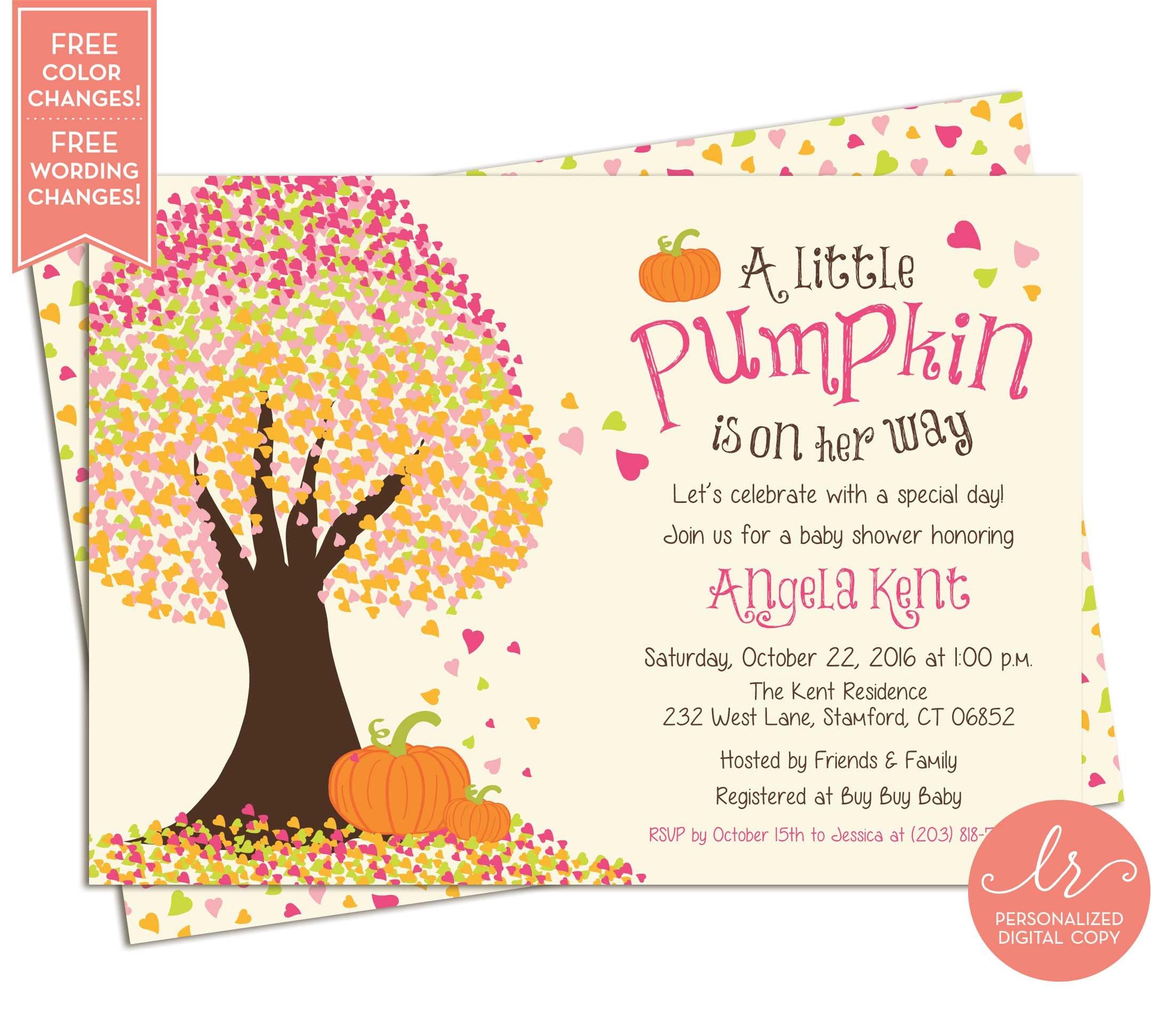 Little Pumpkin Baby Shower Invitations Fall Baby Shower