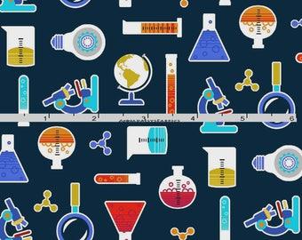 Science Fabric, Chemistry Quilt Fabric, Studio E Fabrics Geek Chic 3734 77, Test Tubes, Beakers, Science Fair, Laboratory Fabric, Cotton