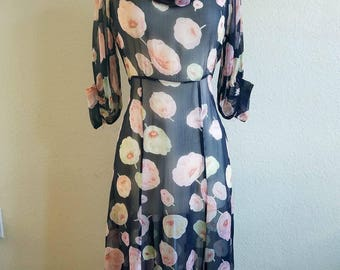 Sheer Black Floral Poppies Chiffon 1930s Dress