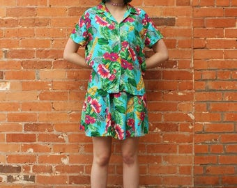 The Gap Vintage 1990s Rayon Hawaiian Skirt and Top