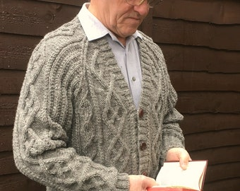 Men's Hand Knitted Pure Aran Wool Cardigan-Aran Knit Jacket-Fisherman's Knit Cardigan-Father's Day Gift-Man's Cable Knit Top-Man's Pullover