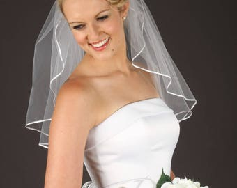 Short Wedding Veil - Romantic Veil - Tulle Veil - Soft Veil - Available in 10 Sizes & 11 Colors!  Fast Shipping!