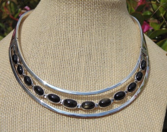 Sigi Pineda ~ Vintage Taxco Sterling Silver and Gold Sheen Obsidian Stone Hinged Choker Necklace - 94 Grams