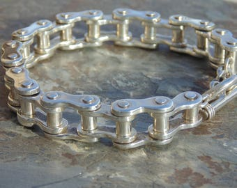 Mexican Sterling Silver Heavy Bike Chain Link Toggle Bracelet - 93 Grams