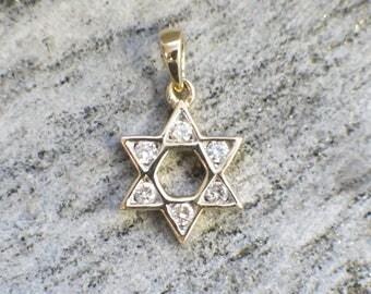 14K Yellow Gold Jewish Star of David Diamond Pendant