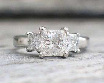 Platinum Princess Cut Three Stone Diamond Engagement Ring 1.98 CTW