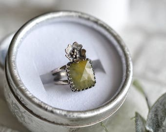 5 1/2 US Yellow Sapphire Rose Cut Sterling Silver Ring Bohemian Freespirit Boho Gypsy Style