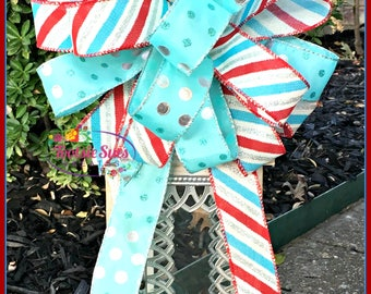 Christmas Bow, Lantern Bow, Aqua Red White Silver Bow, Package Bow, Gift Bow, Tree Topper Bow, Lantern Bow, Wreath Bow, Basket Bow, Swag bow