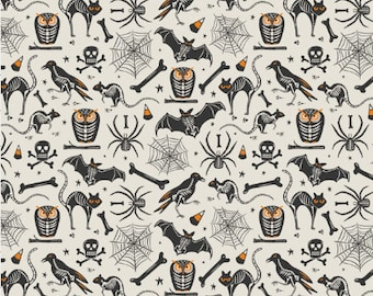 Vintage Halloween Fabric by the Yard Cotton Spooky Skeleton Fabric Childrens Quilting Fabric Organic Cotton Knit Minky Jersey 6755328