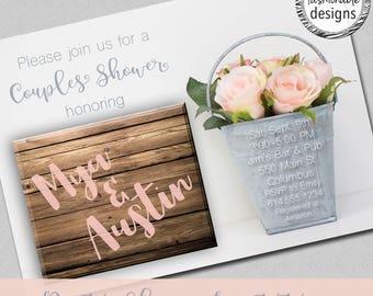 Rustic Shower Invitation, Couples Shower, Bridal Shower, Baby Shower
