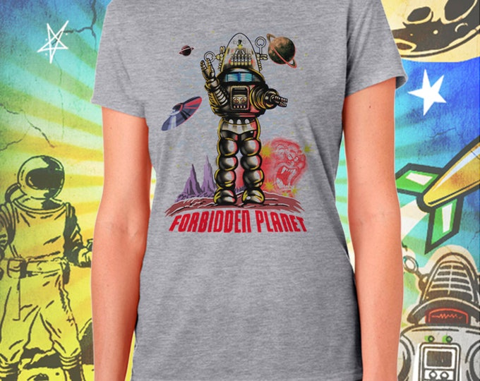 Forbidden Planet / Robby the Robot / Women's Gray Performance T-Shirt