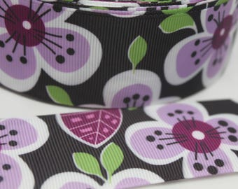 1.5 Inch Purple Flower Grosgrain Ribbon - Grosgrain Ribbon by the Yard for Hairbows, Scrapbooking, and More!!