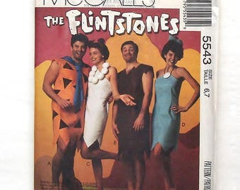 """McCall's Child """"The Flintstones"""" Costume Pattern #5543-UNUSED-Size 6+7(Chest/Breast 25-26)-Fred / Wilma Flintstone and Barney & Betty Rubble"""