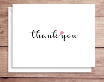 Heart Note Cards - Folded Note Cards - Heart Notes - Heart Thank You Notes - Valentine's Note Cards