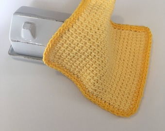 Farmhouse Washcloth - Yellow Dishcloth - Crochet Washrag -  Tunisian Dishcloth - Spa Cloth - Facecloth - Womens Bath Supplies - Cotton Cloth