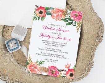Rustic Bridal Shower Invitation Template, Bridal Shower Invitation Printable, Instant Download, Floral Bridal Shower, Editable in Templett
