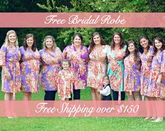 Plus size robe, Maternity robes ,Bridal Party gift, Getting ready robe, Wedding robe, personalized Floral robe, Floral Cotton