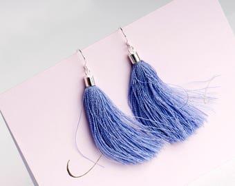 Tassel earrings , Sterling Silver, Gift for Her, Funky earrings, Statement earrings, Quirky Jewellery, fashion earrings, colourful tassels,