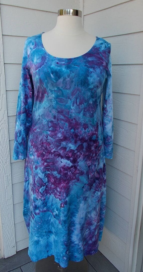 2XL Ice dye tie dye Long Sleeve Cotton Dress