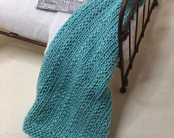 Shabby Chic Handmade Miniature Dollhouse Small Bed Throws - Hand Knitted  - Light Turquoise
