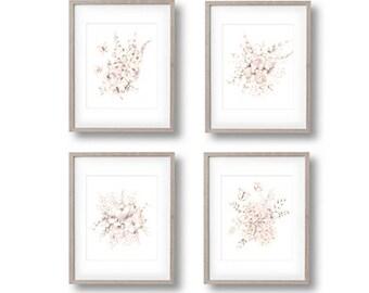 Flower Nursery Art, Set of 4 Prints, Floral Art Prints, Baby Girl, Blush Pink, Butterfly Prints, Butterflies, Pencil Drawing, Nursery Decor