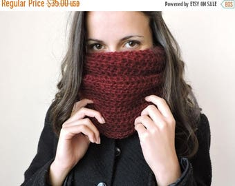 30% OFF Mohair womens scarves Cozy scarf Chunky knit cowl Neck warmer Burgundy infinity scarf Hand knit scarf Mens cowl Snood scarf